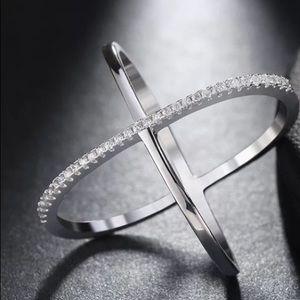 Jewelry - .925 Sterling Silver Criss Cross Diamond Ring